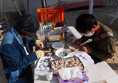 ビーチ遊びと貝殻フォトフレーム工作パック